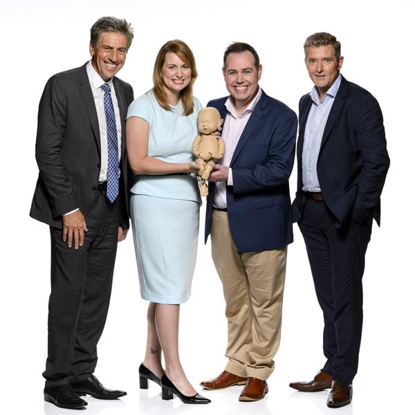 Andrew Banks Sandra Moffatt, Stand in baby, brendon Moffatt and Dr. Glen Richards