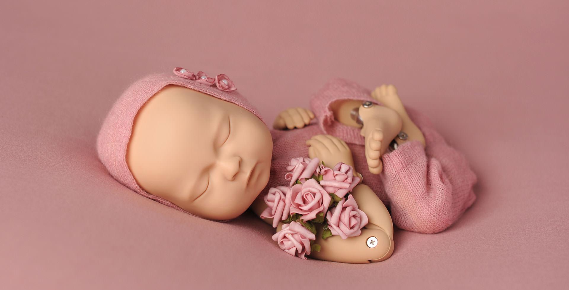 Newborn photography posing and training doll